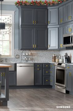 Rustic meets modern in this Samsung kitchen. Our sleek stainless steel appliances come to life when set against rich gray cabinets with bold gold hardware.