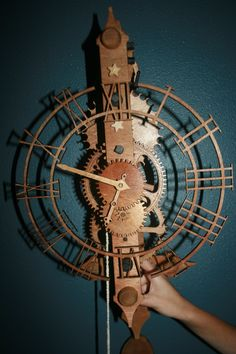 Working wooden clock engraved out of pine wood using a laser engraver