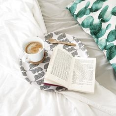 Hygge feeling, a good book and coffee in bed!