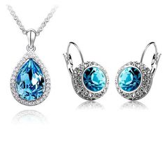 Ladies Womens Luxury Genuine Austrian Crystal Pendant Necklace Drop Earring Set by Klassystore on Etsy