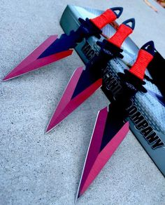 "3Pc 7.5"" Ninja Tactical Combat Kunai Throwing Knife Set w/Sheath Hunting RED #TacticalRazor"