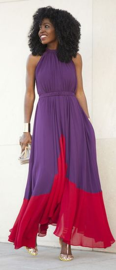Purple And Red Pleated Chiffon Maxi Dress by Style Pantry