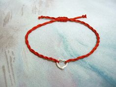 Kabbalah  bracelet with silver heart red thread