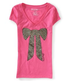 Bow V-Neck Graphic T