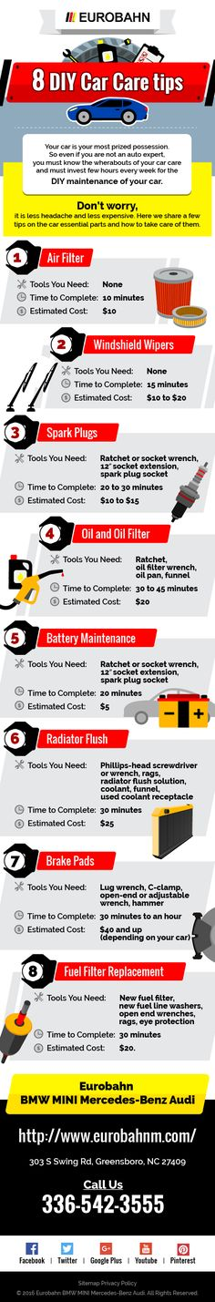 Your car is your most lovely property. So even not being an auto expert, you must know the wherabouts of your car care and weekly must invest few hours to DIY maintenance of your car. Don't worry, that is less headache and less expensive. Here we go few tips on the car essential parts and how to take care of them. http://www.eurobahnm.com/
