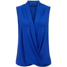 Blue Wrap Front Sleeveless Top ($9.73) ❤ liked on Polyvore featuring tops, shirts, v neck tops, drapey tops, sleeveless shirts, blue v neck shirt and v-neck shirt