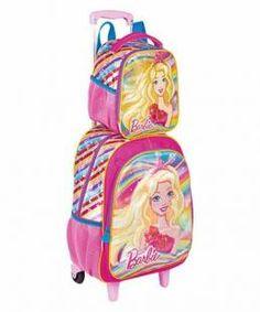 8581fb6d2 Mochila Escolar de Rodinha 19x Barbie 3d e Lancheira - Sestini mochilas