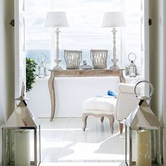 French-style furniture and a beautiful ocean backdrop in this Beach Cottage home. Coastal Cottage, Coastal Homes, Coastal Style, Coastal Living, Coastal Decor, Home And Living, Country Hallway, Theoule Sur Mer, Country House Interior