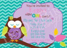 Girl Night Owl Slumber Party Late Night Birthday by dodobirddesign, $9.00