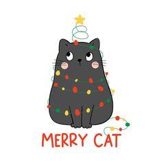 Joyful christmas kitten illustration Pre... | Premium Vector #Freepik #vector #christmas #cat #celebration #holiday Christmas Kitten, Christmas Rock, Christmas Drawing, Christmas Animals, Christmas Humor, Vector Christmas, Cartoon Styles, Cute Cartoon, Santa Paintings