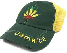 Jamaica Weed Leaf Trucker Snapback Hat Green Marijuana Hip Hop Dancer Cap  Sz NWT  ColoursofJamaica 0affcc354