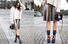 Christian Dior Sunglasses, Zara Oversized Sweater, H&M Midi Skirt, Paula Cademartori Bag, Louis Vuitton Ankle Boots