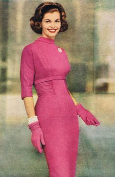 Inspiration: R&K Originals 1958 pink sheath dress day shelf bust 3/4 sleeves gloves pink fashions style vintage color photo print ad model magazine 50s 60s