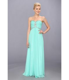 Set yourself apart in this standout Faviana™ dress.. Glamorous chiffon gown features corset-style ...