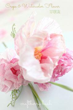 Craftberry Bush: Crepe y Flor Tutorial Acuarela..HERMOSO TUTORIAL DE COMO HACER FLORES A LA ACUARELA