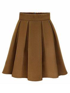 Elegant Women High Waist Pleated Solid Knee Length Skirt - Gchoic.com