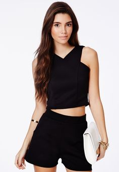 Krystyna Scuba Crop Top With V-Neck - Tops - Crop Tops & Bralets - Missguided