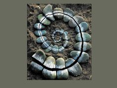 Andy Goldsworthy - created from scraped stones, broken and arranged in a spiral. Andy Goldsworthy is a famous environmental artist. His work is meant to return to earth in a natural way, the camera being the only man-made element related to his art. Land Art, Art Sculpture, Sculptures, Andy Goldsworthy Art, Art Environnemental, Art Rupestre, Art Et Nature, Nature Artists, Art Pierre