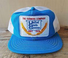 2414498006629 Vtg The Farmers Company UNITED GRAIN GROWERS Mesh Trucker Hat Snapback Cap  Patch  Trucker