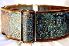 Martingale Collar: Chocolate and Turquoise Brocade, Greyhound Collar, Whippet Collar, Custom Dog Collar, Saluki Collar - 2 Inch