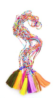 Seed Bead Multi Color Tassel Necklaces by Accessory Concierge. Tassels are big for S2015.