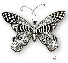 Zentangle butterfly & other patterns