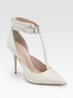 It's spring! Time to move from dark to light with these light-colored T-strap pumps from Elizabeth and James.