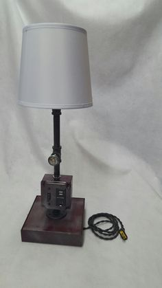 NEW Vintage Industrial Upcycled Steampunk Table/ Desk Lamp with 1 Outlets 2 USB plugs with Vintage Cord and Plug! by RepurposedTX on Etsy