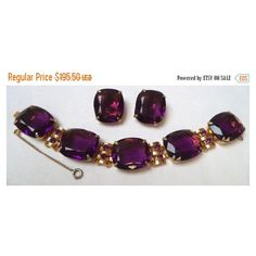Holiday Sale High end purple rhinestone bracelet and earring set... ($137) ❤ liked on Polyvore featuring jewelry, cocktail jewelry, vintage jewelry, rhinestone jewelry, purple jewelry and vintage jewellery