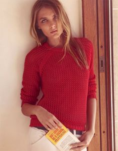 Fashion pictures or video of Isabel Marant: Spring 2011 campaign; in the fashion photography channel 'Advertising'. Red Jumper, Red Shirt, Fashion Corner, Red Sweaters, Knitting Sweaters, Cardigans, Fall Winter Outfits, Who What Wear, Fashion Pictures