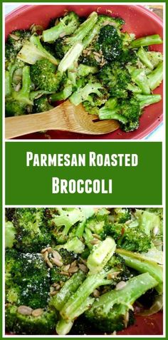 Parmesan Roasted Broccoli seasoned with garlic and lemon and topped with toasted sunflower seeds