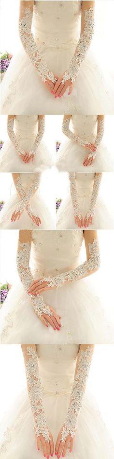 Exquisite Fingerless Rhinestone Lace Bridal Wedding Gloves Bride Bridal Wedding Dress Lance Gloves White