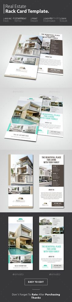 Real Estate Rack Card Template PSD. Download here: http://graphicriver.net/item/real-estate-rack-card/14835837?ref=ksioks
