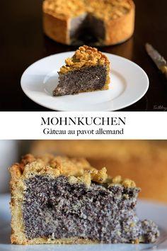 Salut les gourmands! Aujourd'hui je vous présente un de mes desserts préférés: le gâteau aux graines de pavot allemand, constitué d'une base et d'un «streusel» de pâte sablée, garnie d'un mélange crémeux aux graines de pavot, mascarpone, crème et vanille.  J'avais vraiment