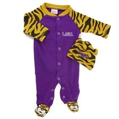 Infant LSU Tigers Purple Footed Sleeper Set with Hat