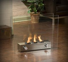 glass portable fireplace