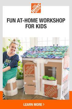 How to Create a Deluxe Cardboard Playhouse Summer Activities For Kids, Fun Crafts For Kids, Indoor Activities, Toddler Crafts, Preschool Crafts, Toddler Activities, Projects For Kids, Diy For Kids, Cardboard Playhouse