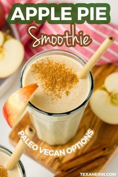 Apple Pie Smoothie - sweet apples cinnamon maple syrup sub sugar-free syrup yogurt of choice rolled oats shredded coconut vanilla extract ground nutmeg optional Apple Smoothie Recipes, Oat Smoothie, Apple Smoothies, Vegan Smoothies, Easy Smoothies, Apple Recipes, Yogurt Free Smoothies, Delicious Smoothie Recipes, Apple Cinnamon Smoothie