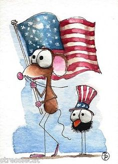 ACEO Original Watercolor Painting Patriotic Art Mouse Bird Crow American Flag | eBay