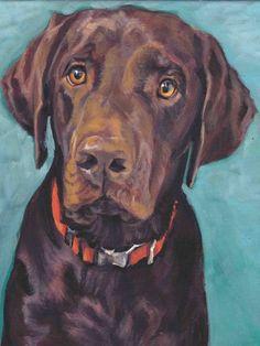 Labrador retriever dog art CANVAS print of LA Shepard painting chocolate lab Labrador Retrievers, Dog Portraits, Portrait Art, Animal Paintings, Animal Drawings, Dog Drawings, Acrylic Paintings, Art Sur Toile, Tier Fotos