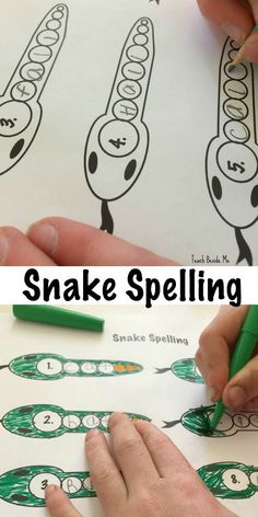Printable snake spelling pages (for letter words). Creative idea for spelling! via /karyntripp/ Spelling Practice, Spelling Activities, Printable Activities For Kids, Spelling And Grammar, Spelling Words, Kids Learning Activities, Spelling Ideas, Free Printables, Language Activities