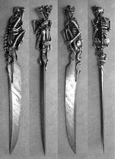 Knife damascus steel with an aspect of death for the pommel Katana, Pretty Knives, Cool Knives, Swords And Daggers, Knives And Swords, Armas Ninja, Ninja Weapons, Survival, Dagger Knife