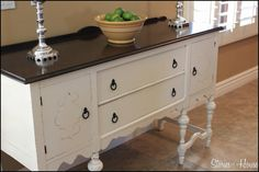 Refinished buffet - I can do this.  It would look so great against those grey walls.
