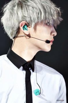 "#EXO #chanyeol || I love those teal ear things in his ear ❤️ (lol ""ear things"")"