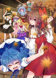 6+girls autumn autumn_leaves blonde_hair blue_hair bow brown_eyes brown_hair…
