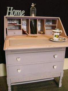 Items similar to stunning shabby chic vintage writing bureau, hand painted in Autentico chalk paint on Etsy Casas Shabby Chic, Shabby Chic Interiors, Shabby Chic Living Room, Rustic Shabby Chic, Shabby Chic Bedrooms, Shabby Chic Kitchen, Bedroom Vintage, Shabby Chic Homes, Shabby Chic Furniture