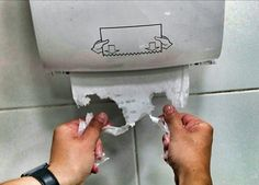 When the thing that was meant to dry your wet hands completely fell apart because it was touched by your wet hands. | 45 Photos That Will Annoy You More Than They Should