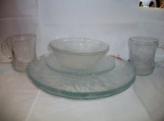 VINTAGE ARCOROC CANTERBURY clear glass set by ALEXLITTLETHINGS, $95.00