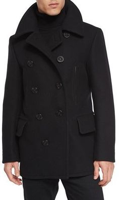 TOM FORD Wool-Blend Pea Coat, Black