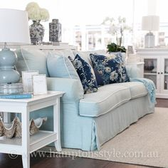 Our Boston Sofa is a slip covered sofa which we have custom made, so you have the ability to change the fabric. The seat cushions are a foam and feather so it's super comfy!